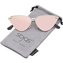 SOJOS Cat Eye Metal Frame Sunglasses Vintage Mirrored Women Sunglasses SJ1091