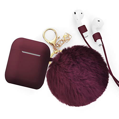 Airpods Case - BlUEWIND Drop Proof Air Pods Protective Case Cover Silicone Skin for Apple Airpods 2 & 1 Charging Case, Cute Fur Ball Airpods Keychain/Strap, Burgundy