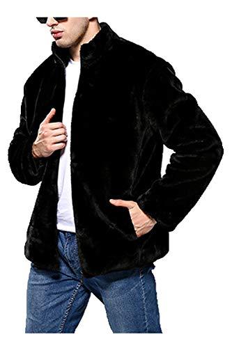 Eco Nero Di Caldo Cerniera Uomini Spessore Zonsaoja Di Cappotti Lusso Con Giacche Di Tasca pelliccia Degli Z5qdUw