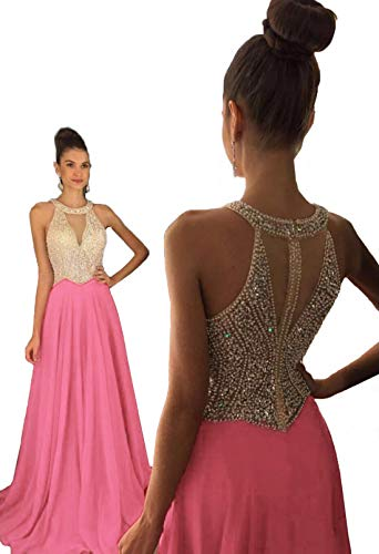 Gowns Formal Coral Dresses Beaded Women's Crystal Long Prom 2018 Fanciest Evening Uxp48S