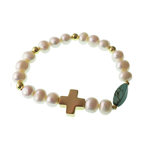 - Cross With Pearls Bracelet/ Catholic/ Gold Plated Brass Charm/ Natural Stone/ Elastic Bracelet