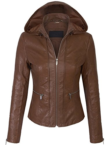 KOGMO Womens Quilted PU Leather Jacket with Removable Hoodie-M-RED