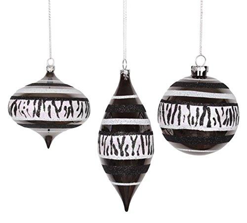 Vickerman Set of 3 Diva Safari Zebra Print & Stripes Black and White Christmas Ornaments 7