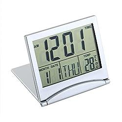 Onewell Digital Snooze Alarm Folding Slim LCD Desk Clock Date Thermometer Calendar B32