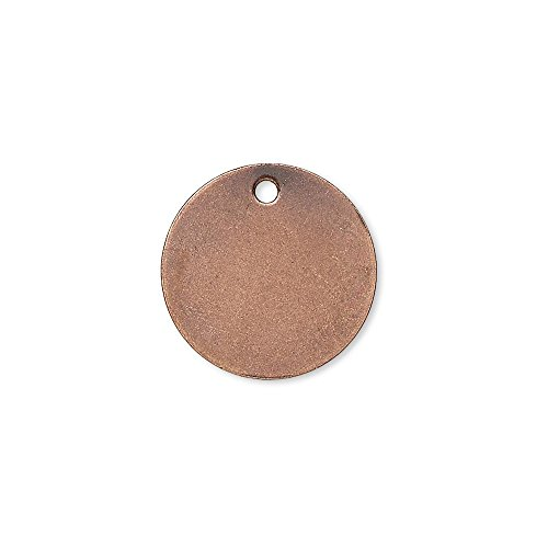 20 Flat 15mm Round Circle Blank Coin Drop Stamping Charms Plated Brass Metal (Antique Copper Plated) (Brass Antique Stamping)
