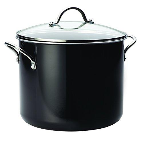 Farberware Aluminum Nonstick Stockpot, 12 quart, (Black Covered Pot)