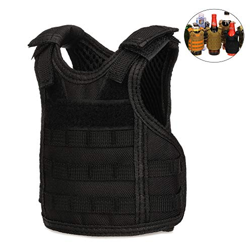 CyberDyer Beer Vests Beverage Cooler Tactical Mini Molle Adjustable Beverage Holder for 12oz or 16oz Cans or Bottles