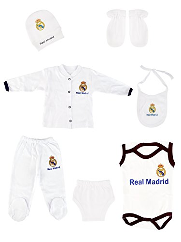 fan products of Babyset football soccer 6 pieces with hats, gloves, baby rompers, bib and full tracksuit. (Real Madrid)
