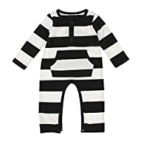 Puseky Newborn Baby Boy Girl Long Sleeve Striped Bodysuit Custome Romper Outf...
