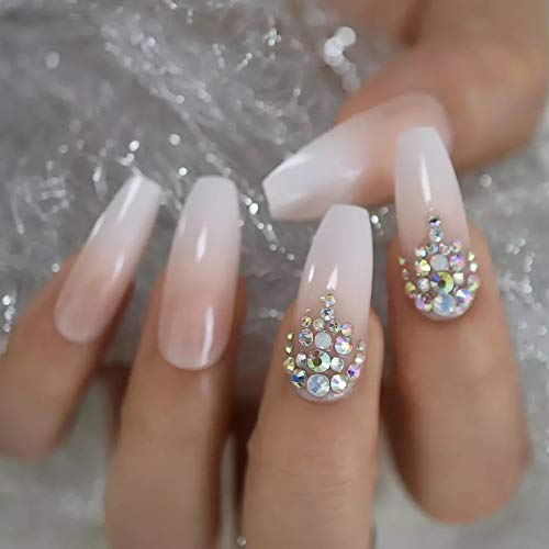 EDA LUXURY BEAUTY NATURAL NUDE PINK WHITE OMBRE FRENCH 3D JEWEL DESIGN Full Cover Press On Gel Glitter Shiny Artificial Tips Acrylic Extreme False Nails Extra Long Ballerina Coffin Square Fake Nails