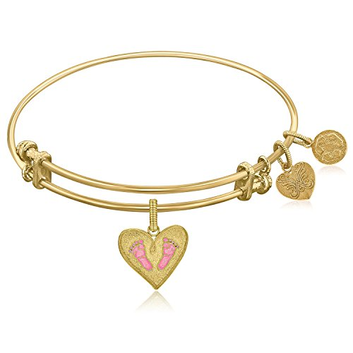 Diamond2Deal Expandable Yellow Tone Brass Bangle with Pink Enamel Baby Foot Print Symbol (Yellow Enamel Bangle)