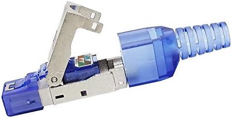 Blue Broadband QIX Tool-Free Assembly RJ-45 Connector Modular Plug STP Cat7 10 Gigabit Shielding Color : Blue Internet