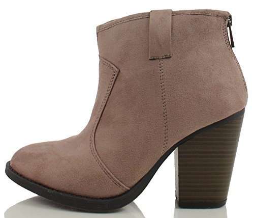 (SODA Women's Albert Faux Suede Cowboy Pull-Tab Stacked Heels Ankle Booties, Black, 6.5 M US (Taupe, 7.5 M))
