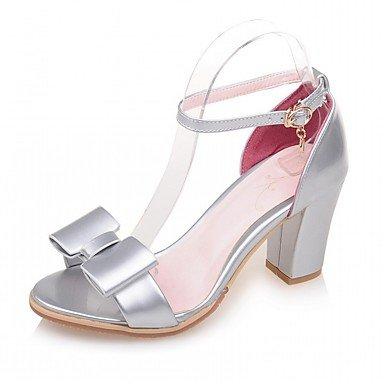 LvYuan Mujer Sandalias Semicuero PU Verano Otoño Paseo Pajarita Tacón Robusto Blanco Plata Verde Rosa 5 - 7 cms Silver