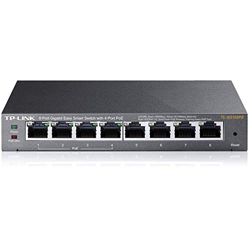 TP-Link 8-Port Gigabit PoE Easy Smart Managed Switch with 55W 4-PoE Ports | Plug and Play | Desktop | Metal | Lifetime | IEEE 802.3af compliant (TL-SG108PE)
