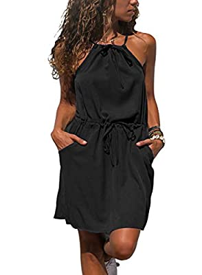Sidefeel Women Sleeveless Halter Beach Mini Dress with Pocket