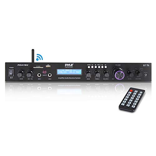 Pyle - 5 Channel Rack Mount Bluetooth Receiver, Home Theater Amp, Speaker Amplifier, Bluetooth Wireless Streaming, MP3/USB/SD/AUX/FM Radio, 200 Watt, w/ Digital ID3 LCD Display from - PDA7BU