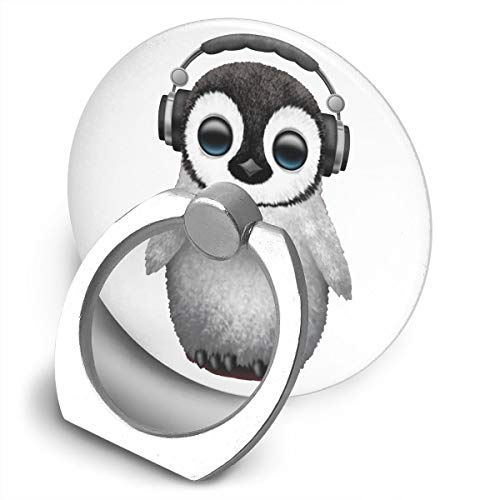 Happy Index Cute Baby Penguin Dj Wearing Headphone 360° Rotation Cell Phone Ring Holder Cellphone Finger Stand for iPhone, IPad, Samsung Galaxy S9/S8 and More Smartphones ()