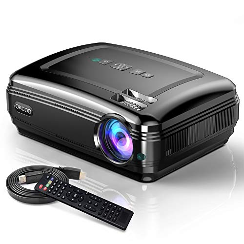 OKCOO Home Theater Video Projector, HD 1080P Supported Cinema Movie Projector, Portable Business Overhead LED Projectors, Compatible with TV Stick HDMI VGA USB SD AV TV PC Laptop