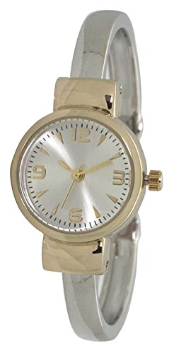 (Fashion Watch Wholesale Ladies Western Simple Metal Bangle/Cuff Watch with Small Round Face (Two Tone))