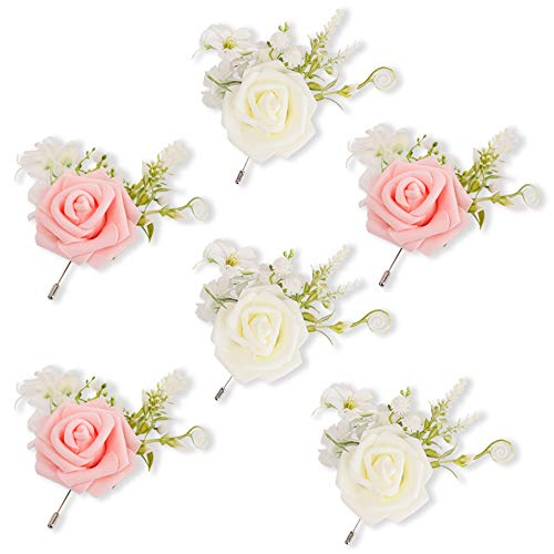 LESING Wedding Boutonniere Groom Brooch Buttonholes,6 Sets Boutonnieres for Men Groomsman Best Man Pin Wedding Party Flowers Accessories Prom Decoration(Boutonniere)