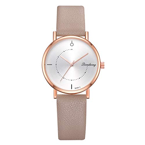(Garish❤️❤️ Women's Simple Wristwatch,Quartz Watch Round Dial,Leather Strap Student Sport Watch,Lucky Girls Watch Jewelry Beige)