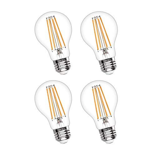 AKT Dimmable LED Light Bulb, Filament 800 Lumen 7.7W Equivalent 60 W A19 LED Bulbs, 2700K/5000K Classic Clear Glass, Indoor/Outdoor, UL Certified Energy-Saving Light Bulbs (2700K,4Pack) ()