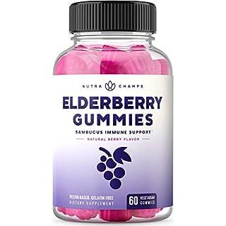 Elderberry Gummies for Kids & Adults [Double-Strength] Immune System Support - Sambucus Nigra Extract Antioxidant Supplement - 60 Vegetarian Gummy Vitamins