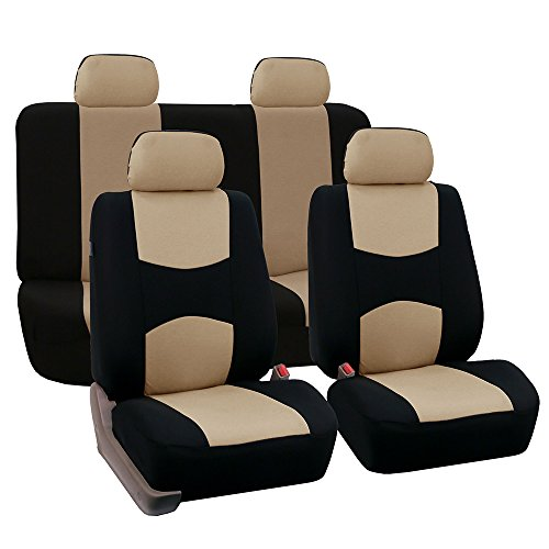Fabric Rear Bench Jeep Seat - FH Group Universal Fit Full Set Flat Cloth Fabric Car Seat Cover (Beige/Black) (FH-FB050114, Fit Most Car, Truck, Suv, or Van)