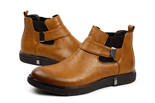 JAS Mens Biker Smart Slip On Chelsea Ankle Retro Boots Casual Work Shoes Brown 2MSz2HhqZ