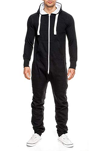 Men's Unisex Onesie Jumpsuit Elegant One Piece Pajama Playsuit Men's Sleepwear All in One (Large, Black)