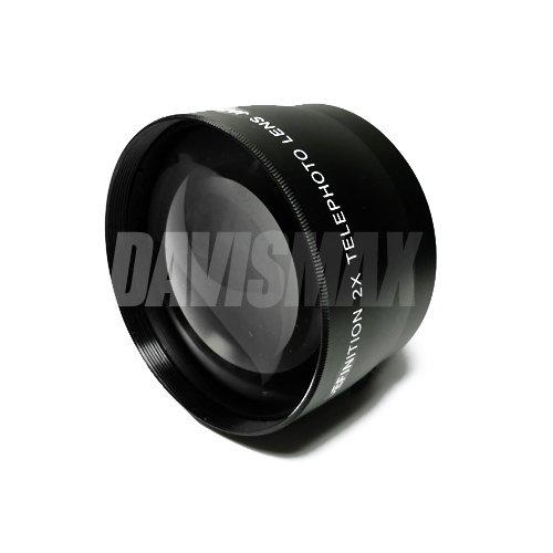 58MM 2X Telephoto Lens Includes LIFETIME WARRANTY, Lens Caps, Lens Bag and DavisMAX FiberCloth for Canon Rebel EOS T2i T3i T1i XT XS XSi XTi T3 & MORE! by DavisMAX