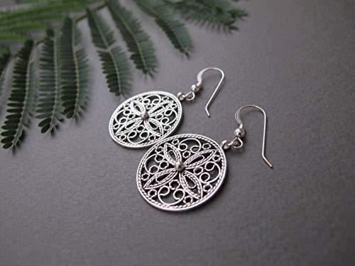 Filigree Silver Earrings, Dangle earrings, sterling silver earrings, Yemenite jewelry, Israeli jewelry, Silver jewelry, ethnic earrings