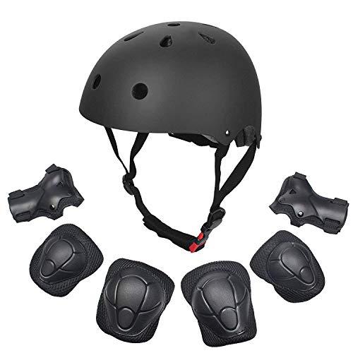 Dostar Kids Helmet Knee Pads for 3-10 Years Toddler Helmet, 7 Pcs Outdoor Sports Protective Gear Set Bike Hoverboard Cycling Scooter Skateboard Adjustable Helmets for Kids (Black)
