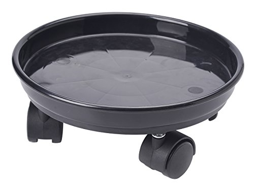 13'' Plant Stand Caddy,Round Plant Dolly Trolley Saucer Moving Tray Pallet on Wheels for Flowerpot,Black,270 Count by Zhanwang