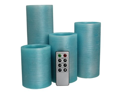 Aqua Blue Flameless Real Wax Candles with Remote 4, 5, 6 ...