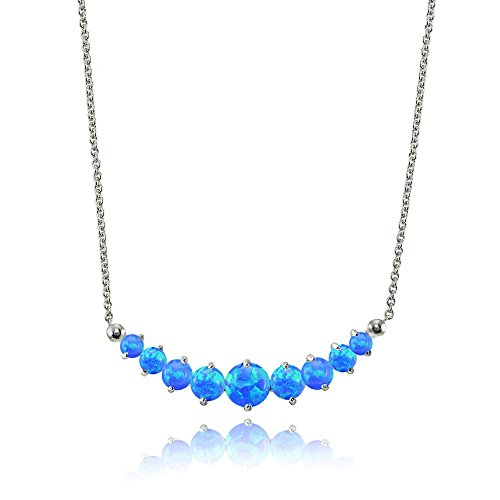 Lovve Sterling Silver Simulated Blue Opal Graduated Journey Necklace with 18 Inch Chain -