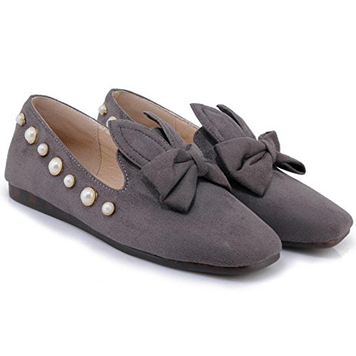 Asian Pumps Shoes Loafers Comfy Gray Court Women's Flat Bow Size TAOFFEN With 33 qHwFB67In