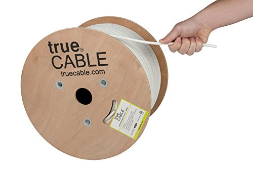 Shielded Cat6 Plenum (CMP), 1000ft, White, Solid Bare Copper Bulk Ethernet Cable, 550MHz, ETL Listed, 23AWG, Overall Foil Shield (FTP), trueCABLE (Data Plenum Cable)