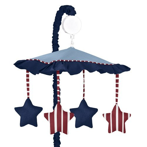 Red, White & Blue Vintage Aviator Musical Baby Crib Mobile by Sweet Jojo Designs (Blue And Red Baby Bedding)