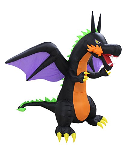 (BZB Goods 8 Foot Tall Lighted Halloween Inflatable Fire Dragon with Wings LED Lights Decor Outdoor Indoor Holiday Decorations, Blow up Lighted Yard Decor, Giant Lawn Inflatables Home Family)