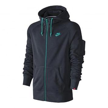 5c4b3f8a7a63 Nike aW77 veste polaire à capuche pour homme S Bleu - Bleu foncé turquoise