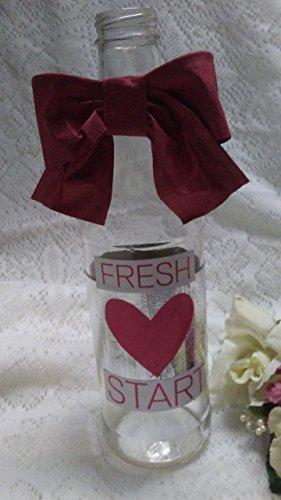 FRESH START glass bottle vase or home decor Made from repurposed upcycled glass bottle Divorce, Rehabilitation, Rehab, Cancer Survivor, Mended Relationship, - Glasses 9.95