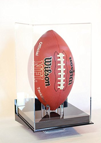 Football Display Case Full Size Ball Vertical Wall Mount Black Base Uv Filtering Acrylic NFL NCAA ()