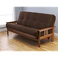 Monterey Futon in Barbados Finish with Suede Chocolate Mattress