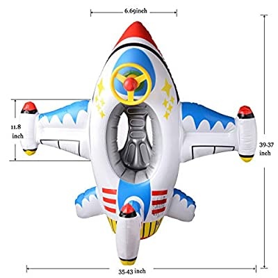 Here Fashion Toddlers Safety Swimming Ring - [4th Gen] Spring Inflatable Airship Float Baby Seat Boat Ring with Steering Wheel Suitable for Age 1-6(White): Toys & Games
