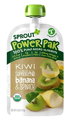 Sprout Organic Baby Food Pouches Sprout Organic Power Pak Toddler Food Pouch, Kiwi with Superblend Banana & Spinach, 4 Ounce (Pack of 12); USDA Organic, Non-GMO, 3 Grams of Protein, Plant Powered