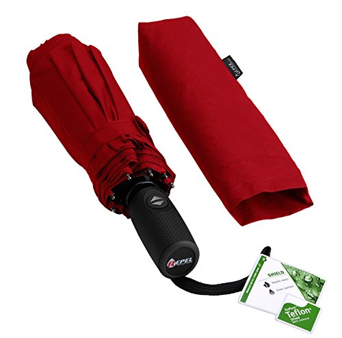 Repel Windproof Travel Umbrella with Teflon Coating (Red) - Golf Umbrella by Repel Umbrella