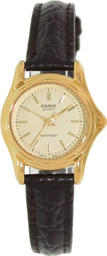 Casio #LTP1096Q-9A Women's Leather Strap Fashion Gold Dial Analog Quartz Watch