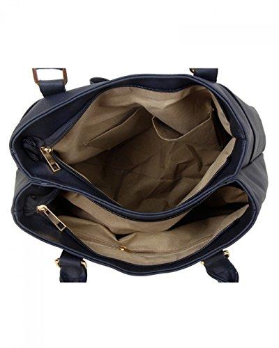 LeahWard Frauen Große Schultertaschen Damen Kunstleder Taschentaschen Handtaschen für die Schule Urlaub CW14110 (Dunkelgrau Bogen Schultertasche für Frauen) Dunkelgrau Bogen Schultertasche für Frauen